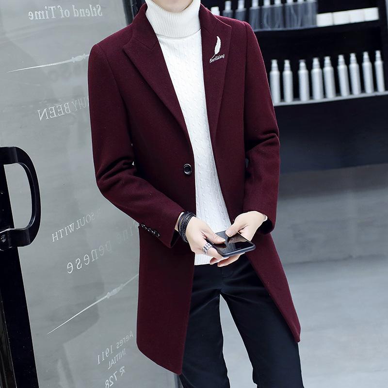 2019 осень и зима мужская повседневная куртка толстая ветровка бизнес случайный мужская сплошная классическая длинное пальто длинная куртка рубашка