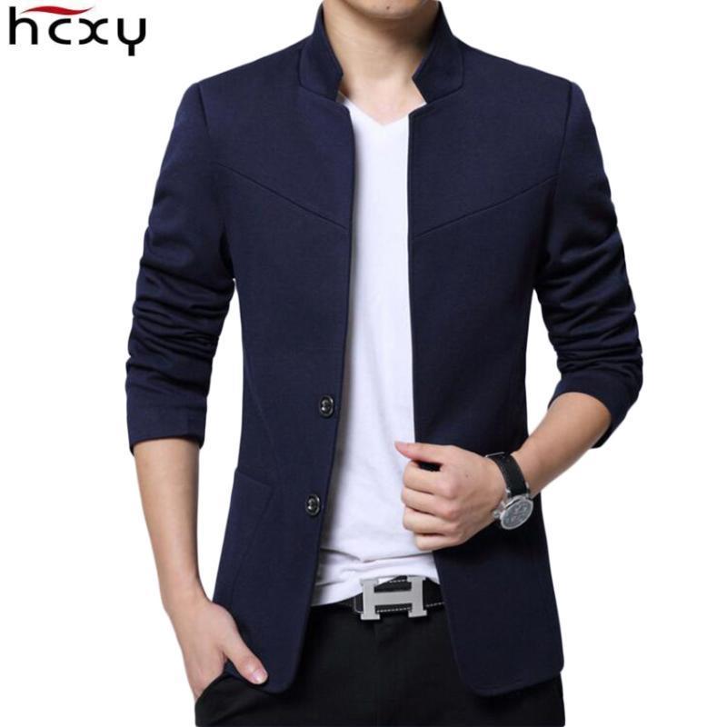 HCXY 2020 Blazer pour hommes de haute qualité Costume Casual Veste Homme Blazers col montant pour les hommes Slim Fit tissu lisse solide