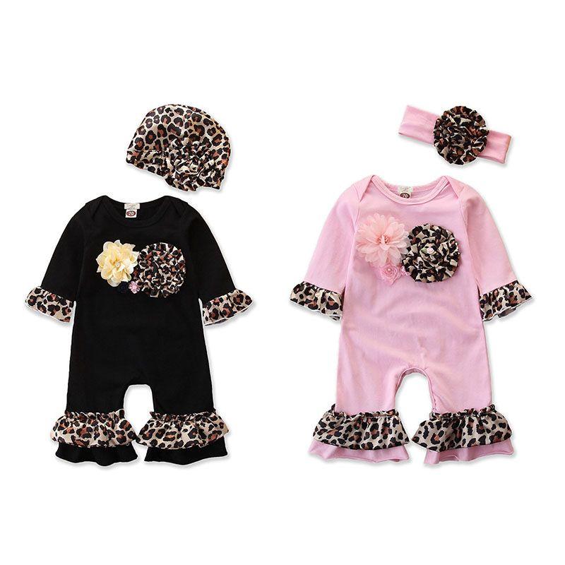 2 шт./компл. Весна Леопард цветочные Детские ползунки цветочные девушки комбинезон + шляпы/ повязки Принцесса новорожденный комбинезон наряды дети девушка одежда M1474