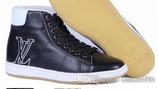 2019 Véritable Cuir De Haute Qualité Mode Haut Haut Hommes Chaussures Hommes Casual Chaussures Pour Automne Hiver Chaussures Hommes Taille: 40-47
