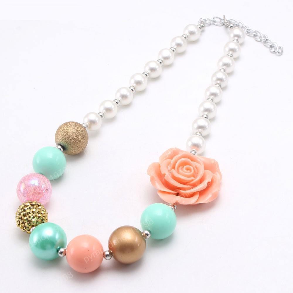 fascino perline fiore del bambino collana ragazze moda bambini grosso Bubblegum collana di gioielli fatti a mano per il regalo bambino