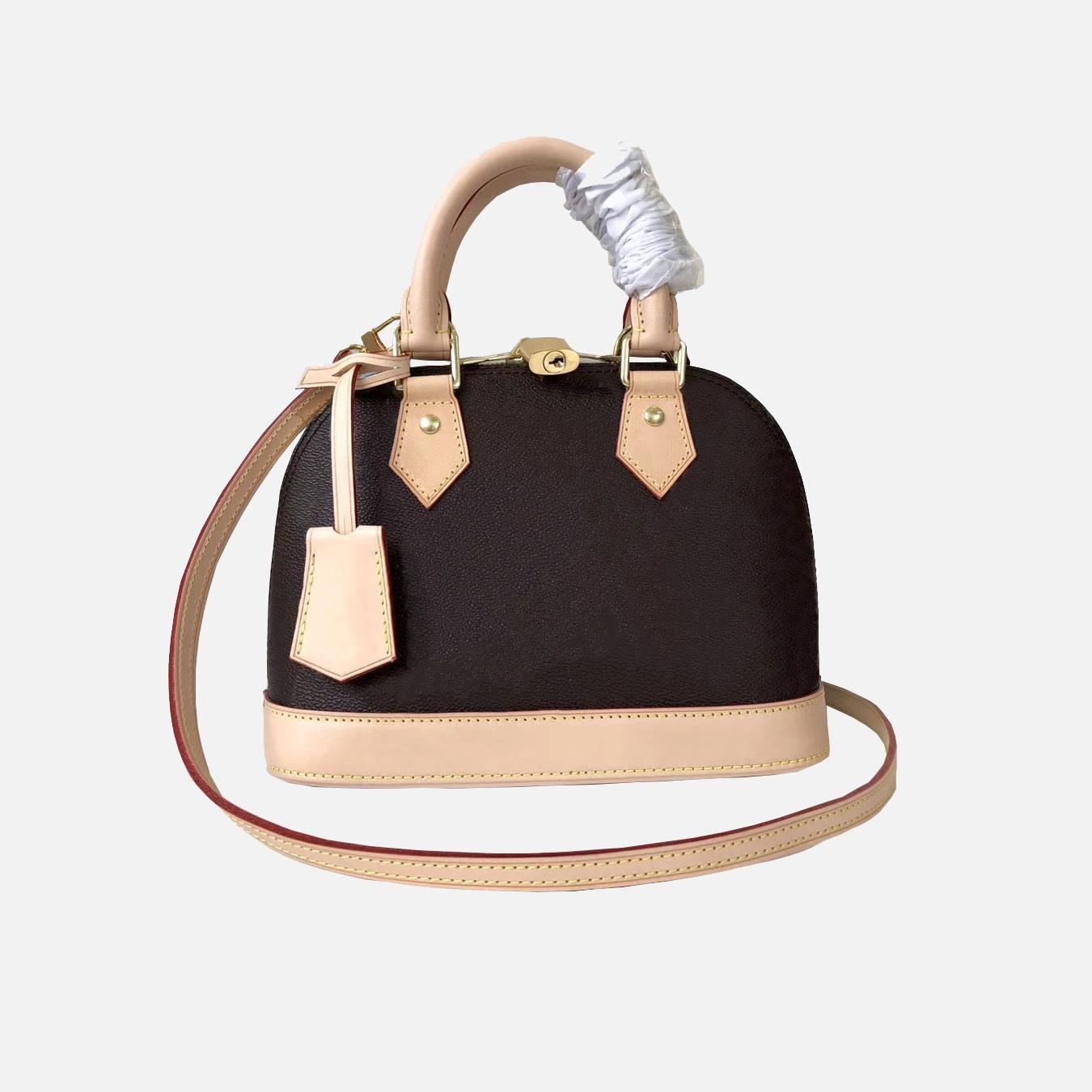 Klassischer Stil Designer Damenhandtasche ALMA BB-Schalentasche Griff nette Beutel Damier Ebene Umhängetasche Lackleder Umhängetasche