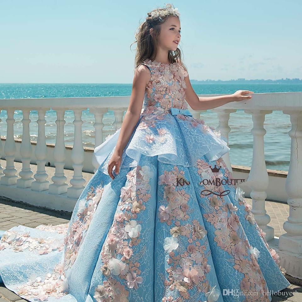 2019 Yeni Varış Çiçek Kız Elbise Düğün İçin vestidos de noche Prenses Balo Çocuk Kız Elbiseler Kızlar Pageant elbise Ile Çiçekler