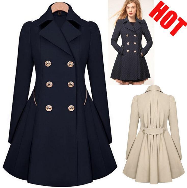 Lady large suit jacket overcoat women plus size solid color lapel neck double button slim puff coat elegant out dress S-5XL