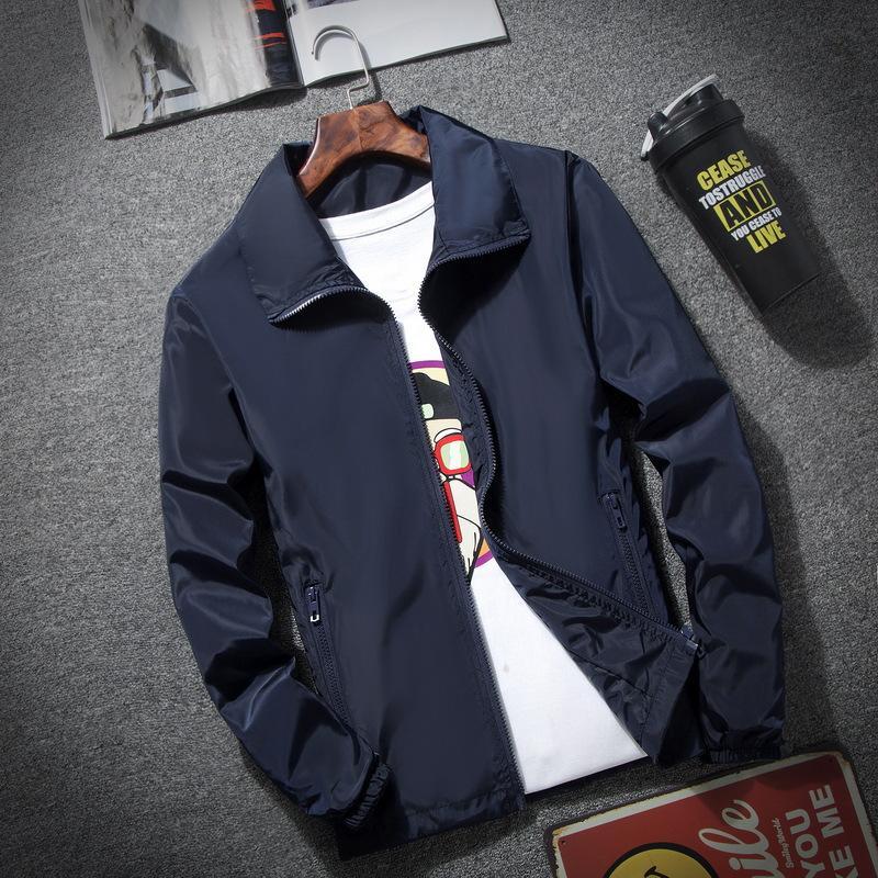 2020 Nouveau mode printemps et automne couleur unie Veste coupe-vent Fermeture éclair Veste mince pour hommes Vêtements 7XL sport d'homme
