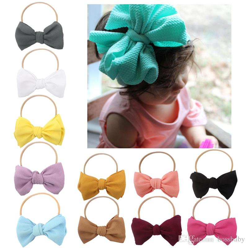 Baby Girls Bow-tie Headband Kids Solid Bow-tie Ribbon Boutique Bowknot Hair Bands Candy Color Grid Pattern Baby Headwear 06