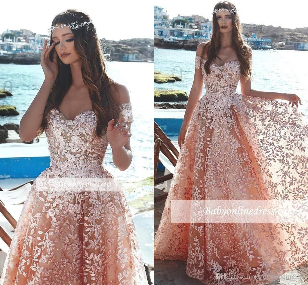 Arabic Exquisite Peach Long Prom Dresses Off Shoulders Sequined Lace Appliques Formal Evening Dress Celebrity Vintage Prom Evening Gown