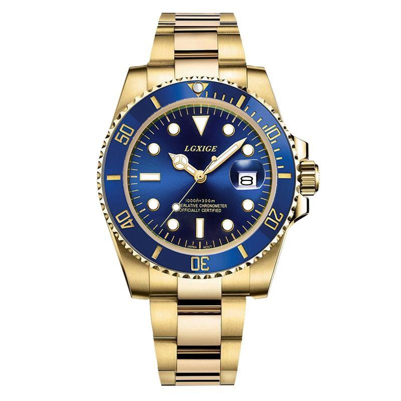 دور الغواصة ووتش الذهب الرجال الرياضة الساعات 40MM كوارتز ساعة 50M ماء الساعات الرياضية