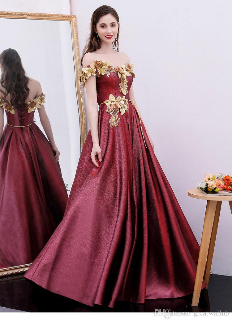 100% echte Luxus Weinrot Glitzer Slash Golden Leaf Blumen Gericht Ballkleid Stuido Prinzessin mittelalterliches Kleid / Victorian Belle Ball
