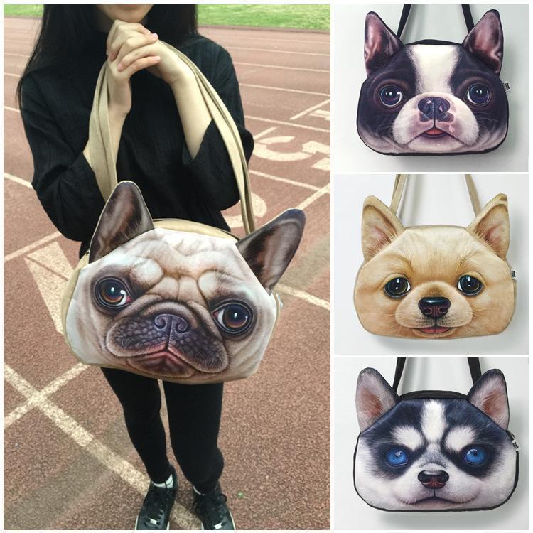 Симпатичные творческие 3D печати животных сумки большой емкости цепи сумка Сумка для девочек женщин полиэстер кошка собака ткань сумки