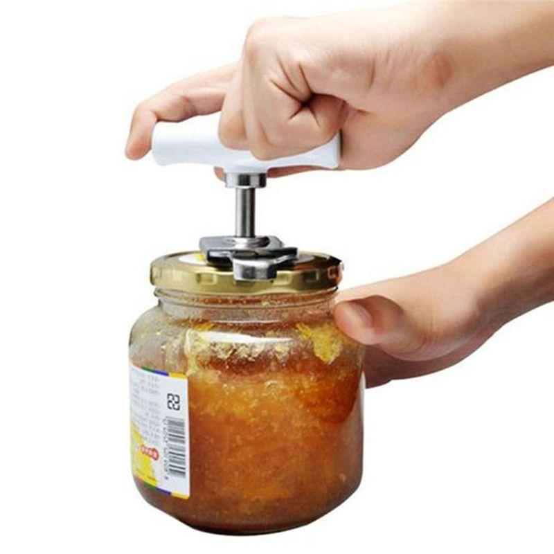 Apriscatole in acciaio inox Apribottiglie regolabili manuale Apri a spirale manuale Coperchio Coperchio Twist Off Screw Apribottiglie Gadget da cucina per 1-4 pollici