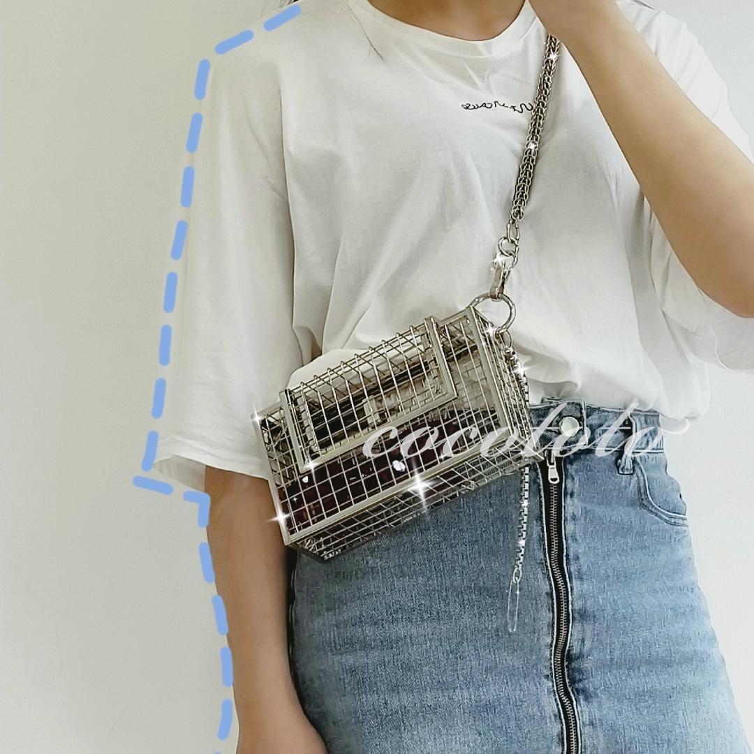 Diseñador-INS ahueca hacia fuera el bolso de embrague de aves de jaula CageMetal niñas asa superior Bolsas partido de la moda monedero del bolso de tarde