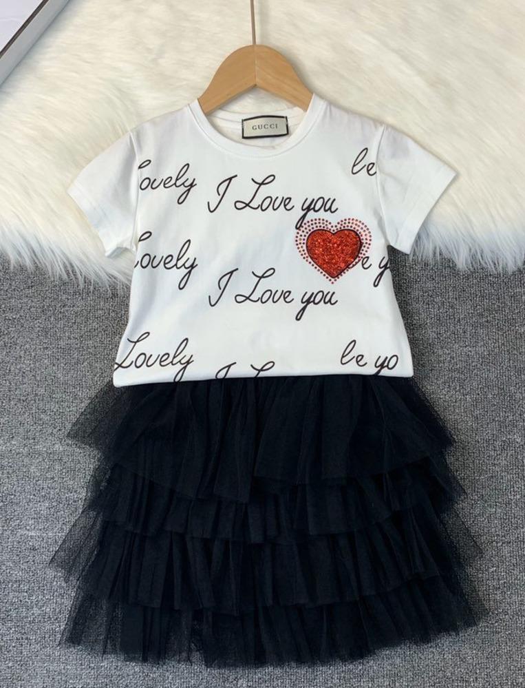 coton manches courtes Casual T-shirt + gaze demi-longueur costume mince jupe style haute couture classique qualité Deux pièces jupe 030914