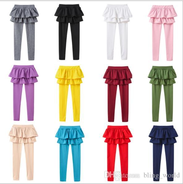 girls panty ins new style Candy color Princess leggings Fake two piece culottes kids Tights Boutique spring autumn Children bottoms CLS11