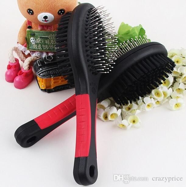 Doppelseitiges Hundehaarbürste Doppelt-Seite Haustier-Katze Grooming Pinsel Rechen Werkzeuge Kunststoff Massage Kamm mit Nadel YSY355-L