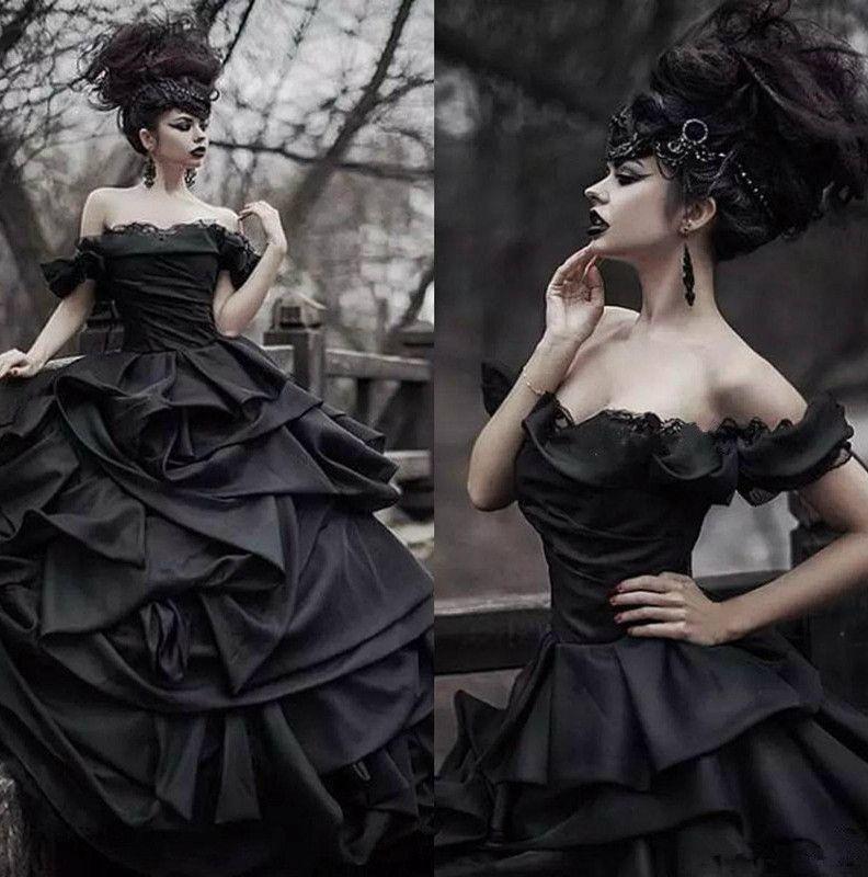 Schulterfrei Schwarz Gothic Brautkleider Pick Up Satin Tiered Falte Spitze Victorian Brautkleider Plus Size Korsett nach Maß 3967