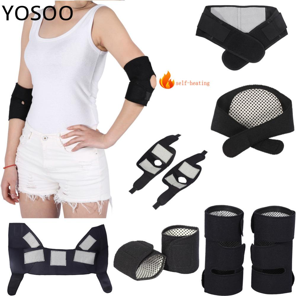 Correias Corrector Postura Cinto de Turmalina Auto-aquecimento Joelheiras Cintura Pulso Cotovelo Suporte Terapia Neck Shoulder Knee Support Set