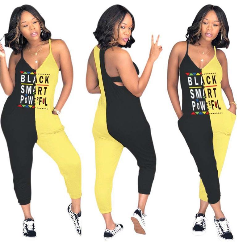 Женщины Черный Смарт письмо Комбинезон лето без рукавов Bodycon Два цвета Лоскутное Комбинезон One Piece Ползунки Комбинезоны Tracksuit Лучшие продажи Лучшие