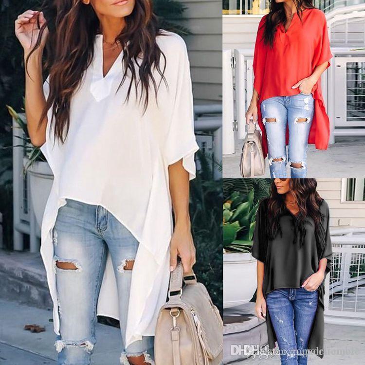 Sommer-Frauen Designer-T-Shirt Asymmetrische Solid Color mit V-Ausschnitt Bequeme lose Flügel-T-Shirt der beiläufigen Frauen-T-Shirts