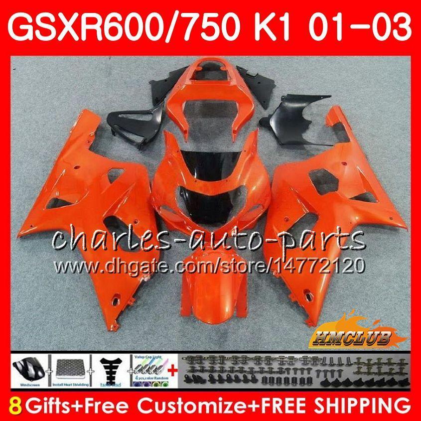 8ギフトボディfor Suzuki GSXR 600 750 GSXR600ライトOrange 2001 2002 2003 2003年4HC.72 GSX R750 GSXR-600 GSX-R750 K1 GSXR750 01 02 03フェアリングキット
