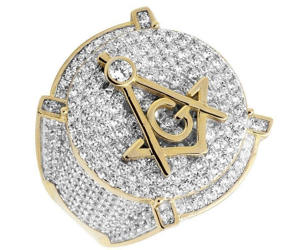 Erkek Beyaz Altın Dolu Lab Elmaslar 3d Masonik Nişan Pinky Yüzük Boyutu 6-13 Y19052201