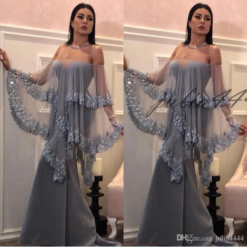 New Gray Bateau Pescoço Vestidos de Noite 2019 Sem Mangas Até O Chão Bainha Lavanda Chiffon Sem Encosto Prom Vestidos