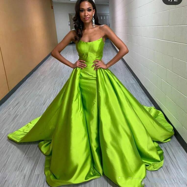 Verde 2021 Vestidos de noite de sereia sem alças com trem destacável Prom festa vestido de vestido de cetim vestido de noite vestidos de noite vestes de soirée