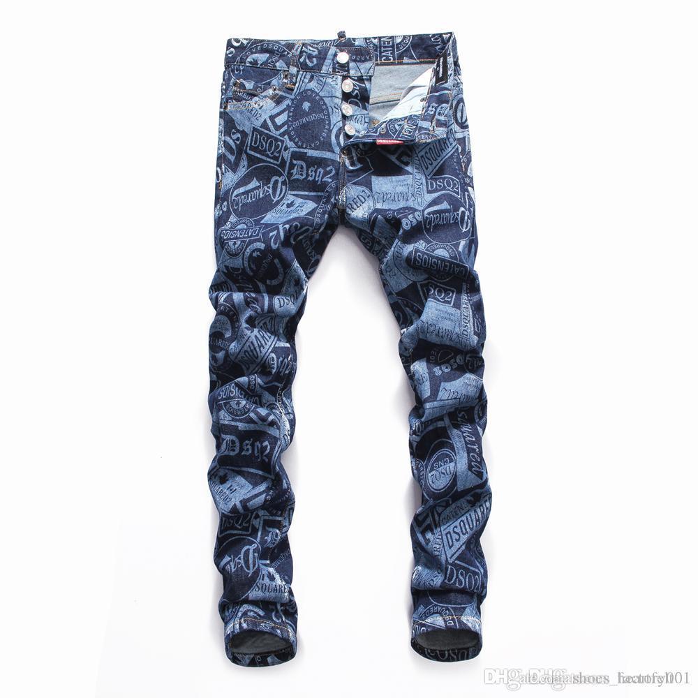 Marque Jeans Hommes de luxe de Jeans Baggy Biker taille haute Ripped Rock Revival Noir Skinny Hommes Jean Pantalons longs Pantalons 039