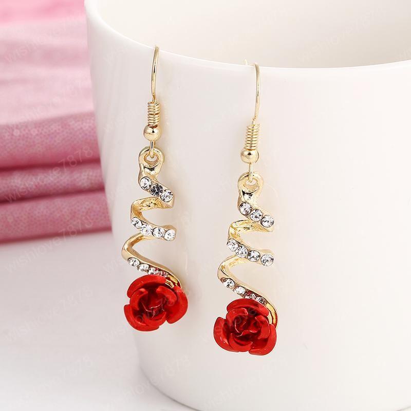 Vintage Red Rose Çiçek Küpe İçin Kadınlar Nefis Rhinestone Kristal Bırak Küpe Bildirimi Düğün Takı Toptan