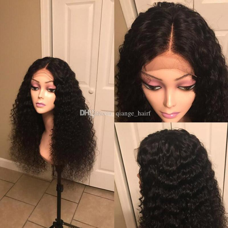Kinky Curly Wig Lace Front Human Hair Wigs For Women Black 150 Density Full Pre Plucked Gluless Lace Wig Remy