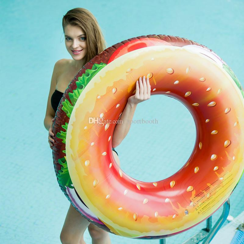 Inflatable Hamburger Pool Float Beach Lounger Air Mattress Adult Kids Swimming Ring Summer Beach Swimming Pool Party Lounge Raft