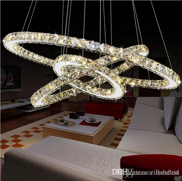 Modern K9 LED Kristal Avizeler Daire Yüzükler Kristal Kolye Işık Yaşayan Romm Yemek Odası Dedroom için