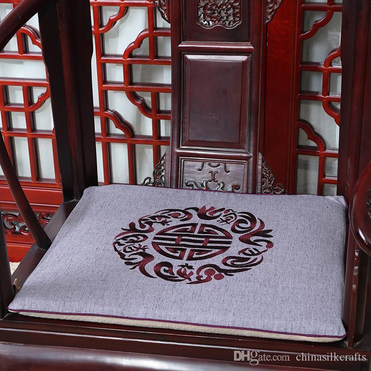 Последние Вышитые Радостный Стул Подушка Сиденья Хлопок Белье Диван Обеденный Стул Подушка Сиденья Офис Домашнего Декора Китайский Кресло Подушки Сиденья