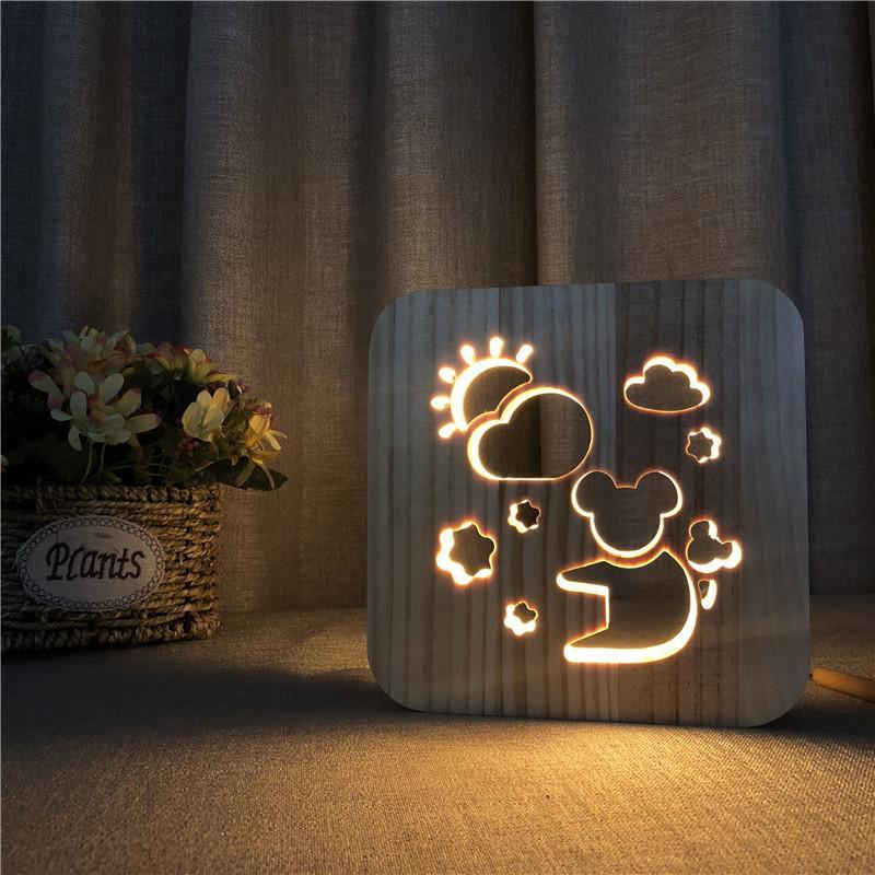 Ahşap Koala Gece Lambası Katı Ahşap Oyma Gece Işıkları Nordic Tarzı Ahşap Hayvan Koala Lamba Yatak Odası Başucu Işık Için