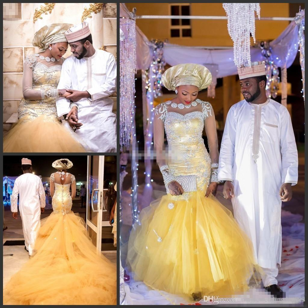 African Nigerian Styles Gold Mermaid Wedding Dresses With Long Sleeves Beaded Sweep Train Plus Size Bridal Party Gowns Vestidos De Novia