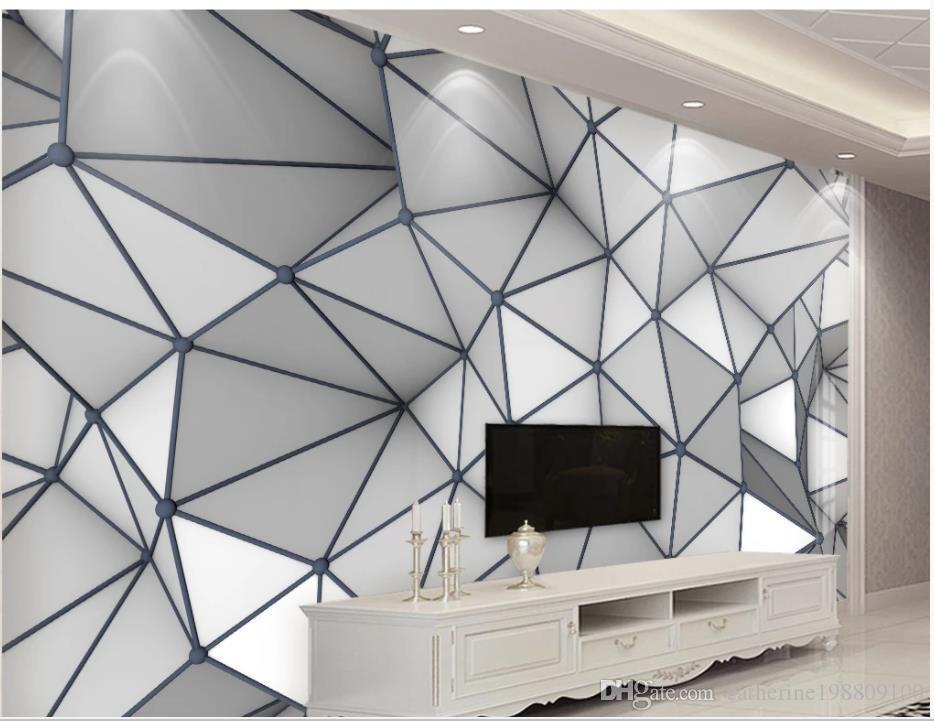 papier peint pour les murs 3 d de salon 3D en trois dimensions géométriques simples lignes graphiques de la paroi de fond