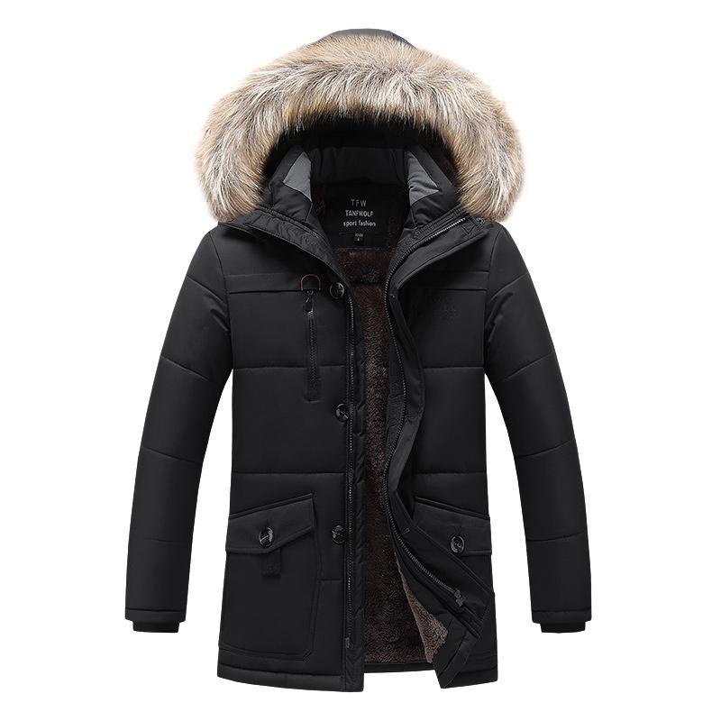 Giacca Parka Inverno Uomini spessore caldo casuale Parka Streetwear Abbigliamento Giacche Solid Cappotto invernale Uomini Big Size L-8XL Uomo