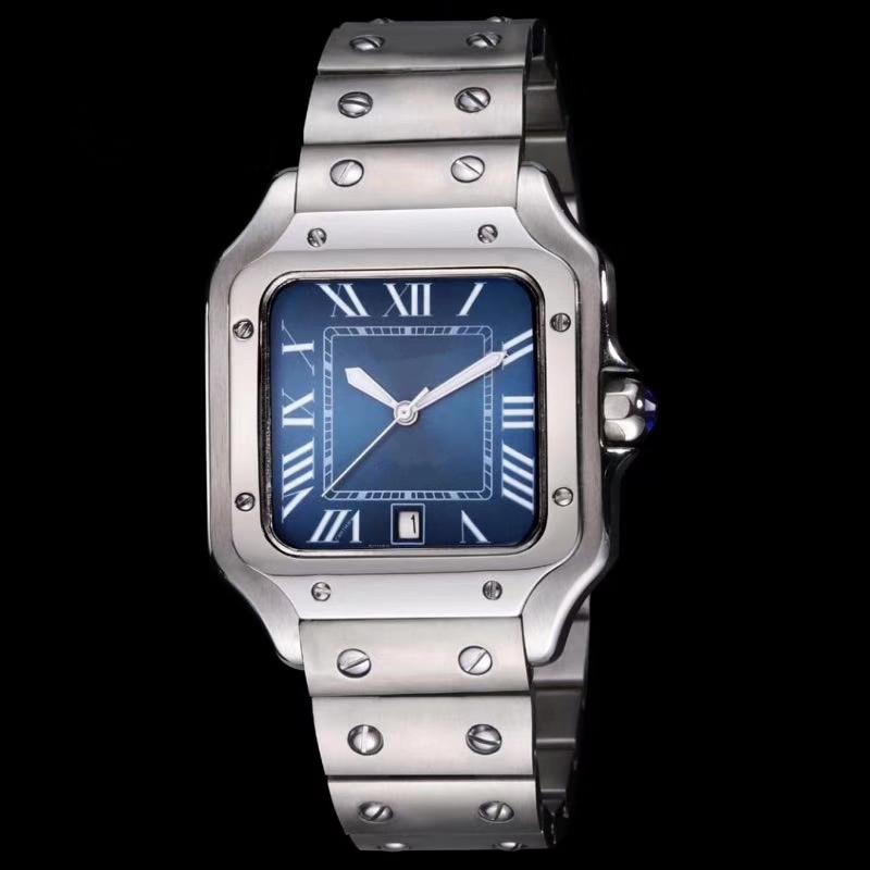 Montre homme plein luxe en acier inoxydable automatique calendrier carré mécaniques des hommes d'affaires militaires montres montre cadran bleu Reloj de Lujo