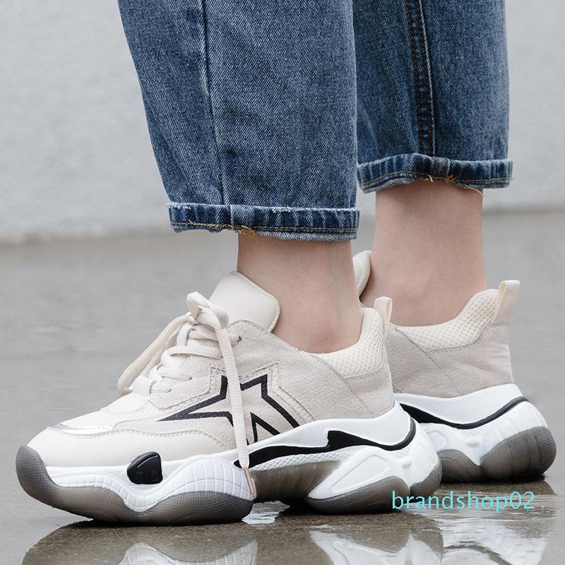 Fairy2019 couro genuíno Temporada Dad Shoe Grosso inclinação com sapatos de Joker Leisure Time Fundo Plano Sneakers Código Will Mulheres