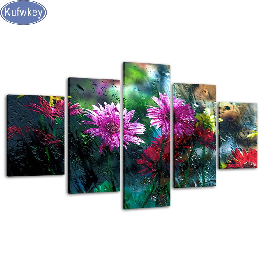 "5d cross stitch 5 Pieces""Beautiful purple flower""full Square/round Diamond painting Mosaic Diamond Embroidery Multi-pictures"