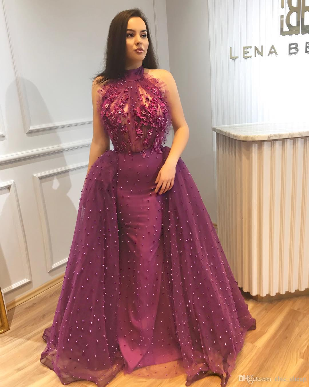 Luxurious Sexy Mermaid 2018 Purple Prom Dresses Halter Pearls Lace Tulle Evening Dresses Stunning Formal Pageant Party Gowns