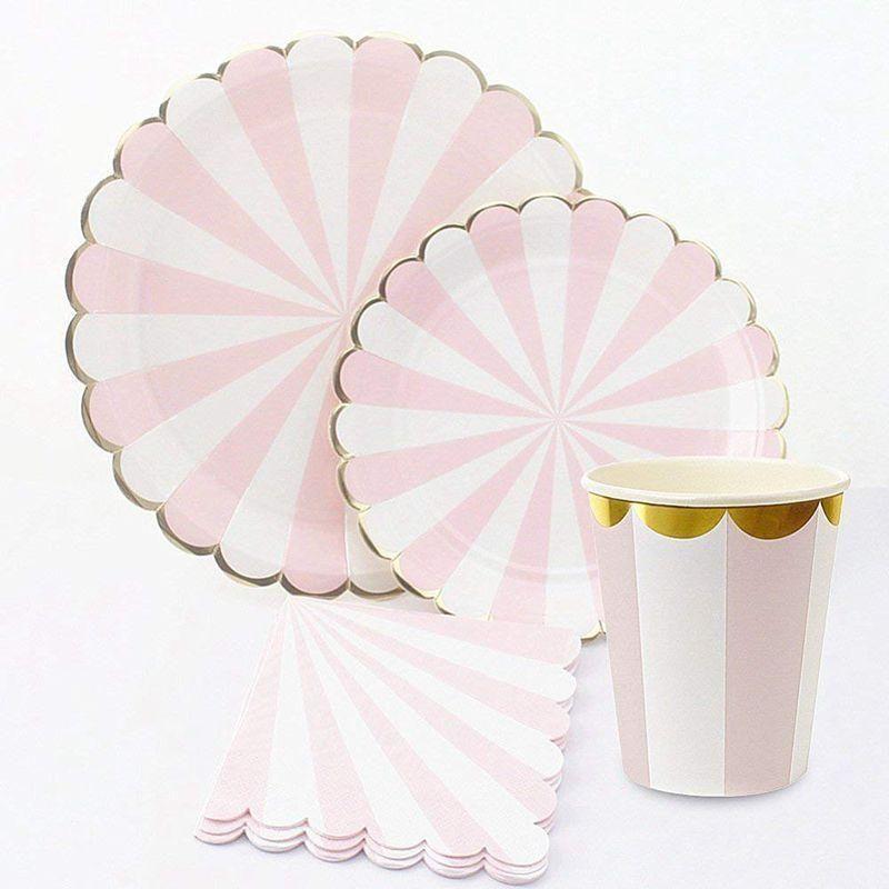 A desechables de vajilla -Serves 16 -Striped Artículos de fiesta -Incluye Platos, platos de postre, servilletas, vasos (rosa)