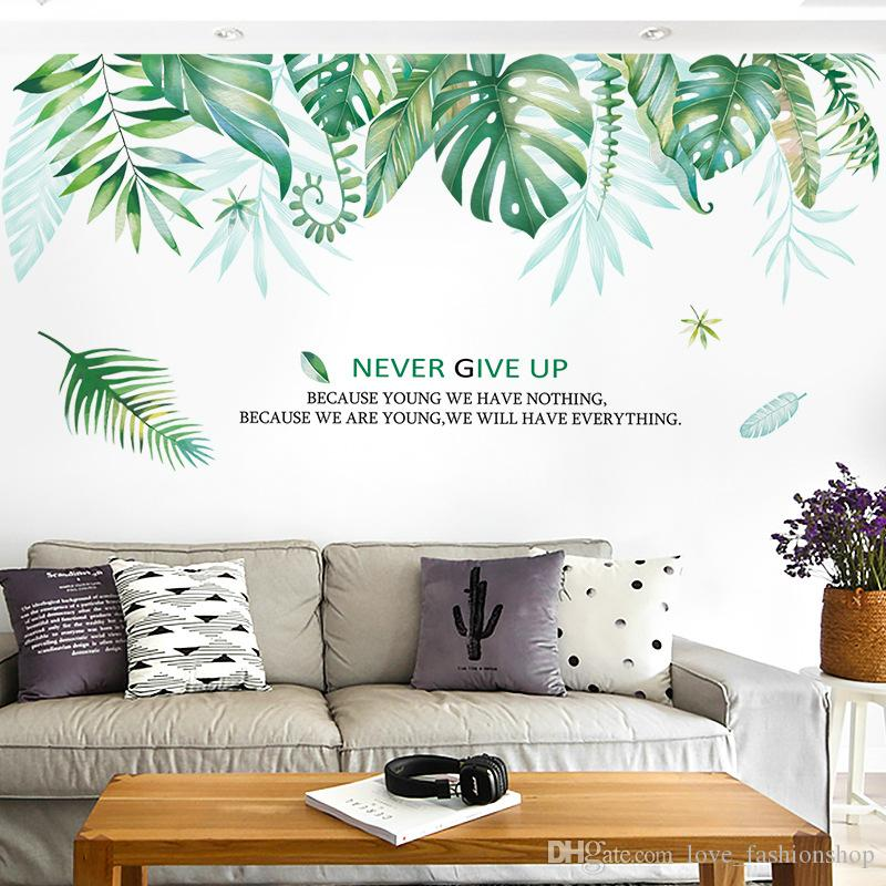 Retail Big 96*175cm Wall Stickers For Children\'S Bedrooms Fresh Large Green  Leaf Living Room Ins Background Home Decor Wall Art Wallpaper Wall ...