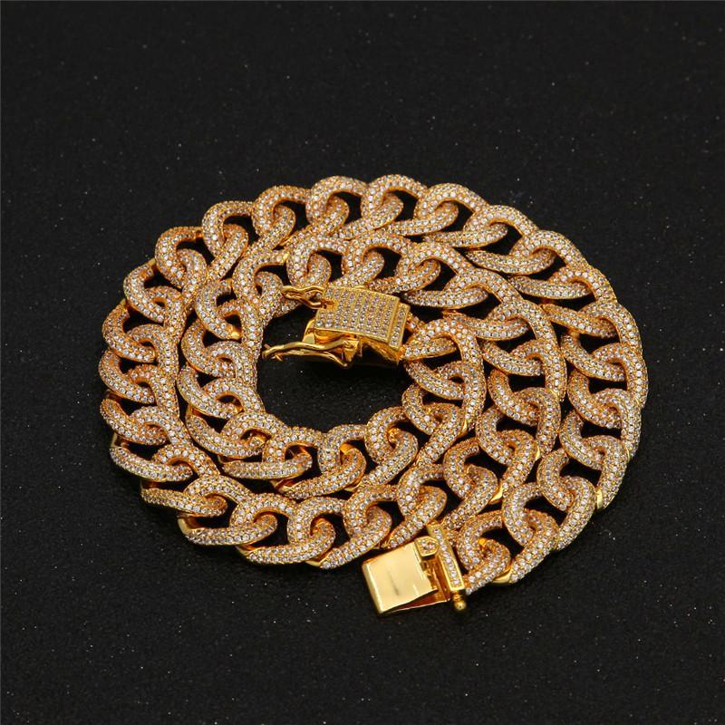 Men/'s Hip Hop 18K plaqué or Collier ICE OUT Diamant Pendentif Link Chaîne