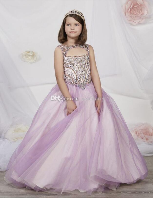 New Shinning Girls Pageant Dresses 2019 Sheer Neck Beaded Crystal Satin Flower Girl Gowns Formal Party Dress For Teens Kids