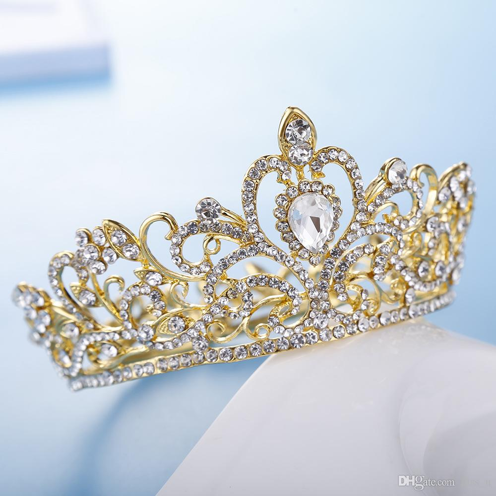 Full Round Crystal Rhinestone Wedding Bridal Hair Accessories Kids Crown,Silver