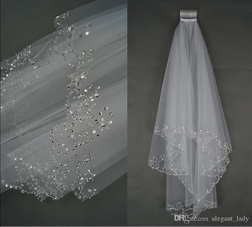 Vesti di nozze di lusso veli da sposa velo da sposa a 2 strati a 2 strati a mano in rilievo mezzaluna perline accessori da sposa velo bianco e colore avorio in magazzino