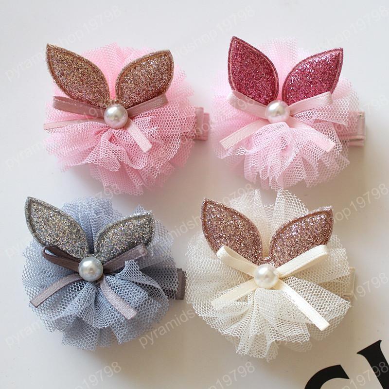 20pc / Rabbit Ears lote Glitter fieltro para bebés pelo Clip de moda las niñas de 5 cm de agarre del pelo cinta de gasa precioso princesa Bowknot de la perla del pelo Barrettes