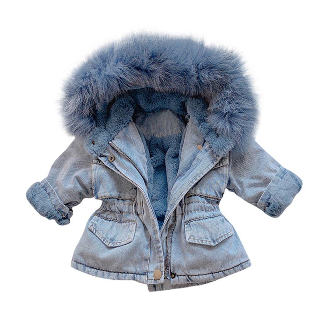 Character Kids Girls Padded Coat Infant Parka Jacket Top Long Sleeve Lightweight