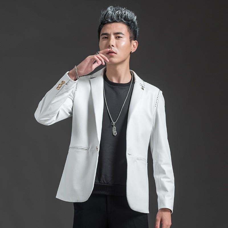 Марка из натуральной кожи мужчин Luxury нагрудные Slim Fit Бизнес коровьей костюм куртка моды одной кнопки Белый Blazer Plus Size